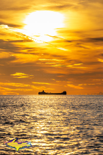 Great Lakes Freighters Photography A Portrait View of the Sunset over the Roger Blough on Lake Huron