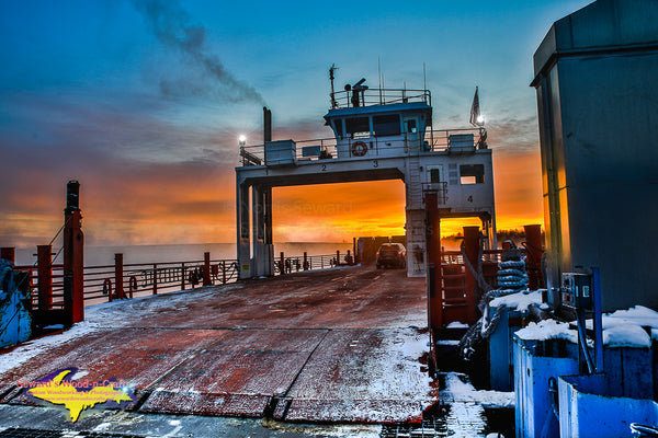 Sugar Island Ferry Winter Morning Sunrise Sault Ste. Marie, Michigan Photography
