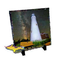 Michigan Made Products, Gifts, & Souvenir Crisp Point Lighthouse Photo Slate