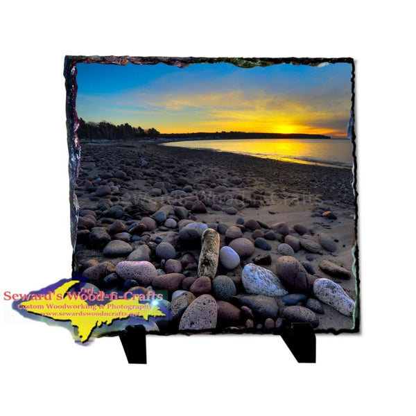 Yooper Gifts Sunset Mclain State Park Keweenaw Peninsula 8x8 Photo Slate