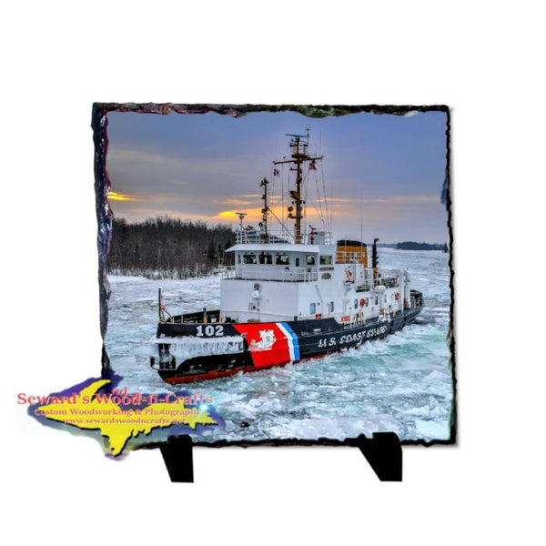 Coast Guard Cutter Bristol Bay 8x8 Photo Slate. Best Great Lakes Coast Guard gifts and collectible