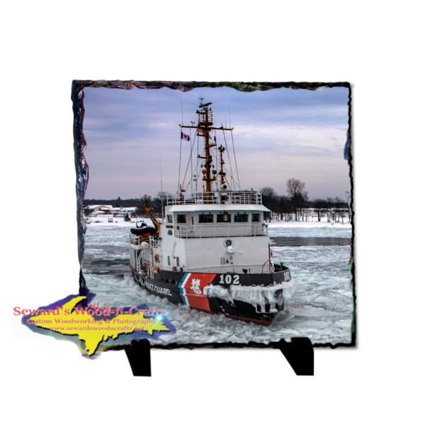 Coast Guard Cutter Bristol Bay 8x8 Photo Slate Best Great Lakes Coast Guard gifts and collectible.
