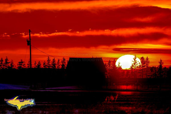 Michigan Photography Sunset Over Old Barn Rudyard Michigan