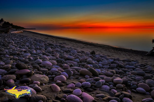 Michigan Landscape Photography Lake Superior Sunset Afterglow Grand Marais, Michigan