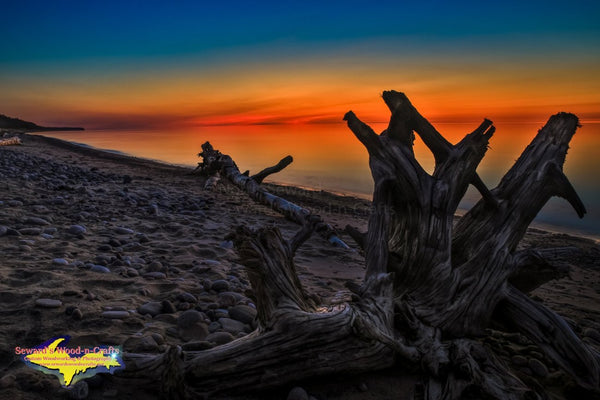Michigan Landscape Photography Lake Superior Driftwood Sunset Afterglow Grand Marais, Michigan
