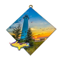 Crisp Point Lighthouse Hanging Photo Tiles Yooper Art & Gifts