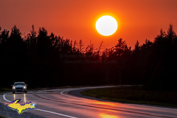 Michigan Sunset On State Highway M28 Royalty Free Stock Images