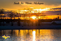 Sunset Photo Sault Ste. Marie, Michigan Photography Digital Print For Sale
