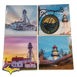 Michigan Drink Coasters Whitefish Point Lighthouse Best Michigan's Upper Peninsula Gifts