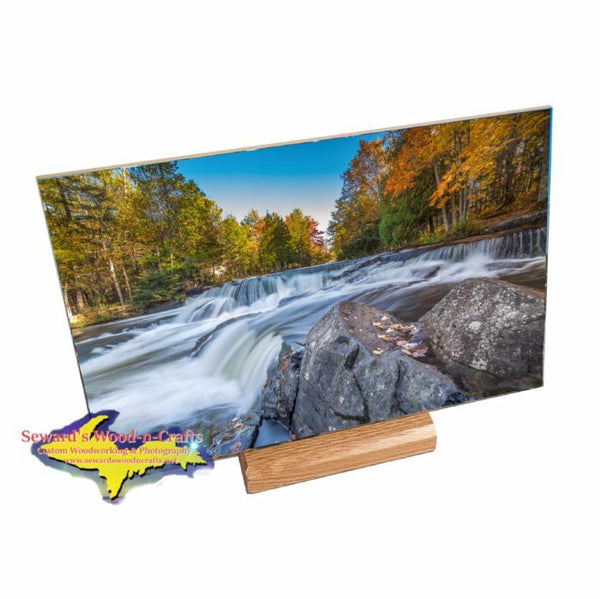 Michigan's Upper Peninsula Bond Falls 8x12 Photo Trivet. One-Of-A-Kind Yooper gifts with amazing vivid colors!