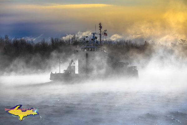 United States Coast Guard Cutter Buckthorn Morning Fog Photo Sault Ste. Marie, Michigan Photography
