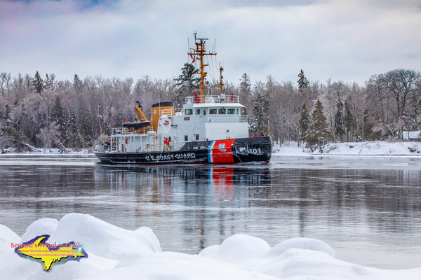 Great Lakes Freighters Photography United States Coast Guard Cutter Katmai Bay Heading up the Little Rapids Cut