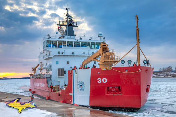 Great Lakes Freighters Photography United States Coast Guard Cutter Mackinaw at the Soo Locks