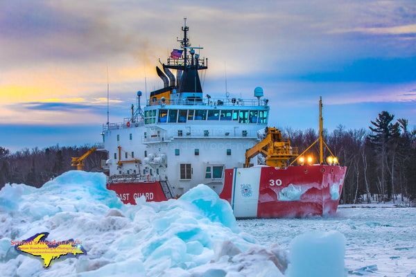 United States Coast Guard Cutter Mackinaw (WLBB-30) Sunset Photo Great Lakes Photography