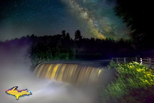 Michigan Photography Starry night Upper Tahquamenon Falls with our Milky Way Galaxy