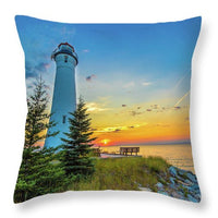 Crisp Point Lighthouse Throw Pillow Yooper Gifts