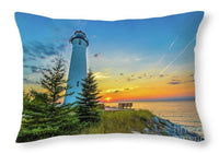 Lighthouse Crisp Point Sunset -2566 - Throw Pillow