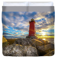 Manistique Lighthouse Sunset Duvet Cover. Michigan Upper Peninsula Photos, Gifts, Collectibles, Home/Bedroom Decor