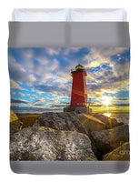 Manistique Lighthouse Sunset Duvet Cover. Michigan Upper Peninsula Home/Bedroom