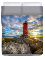 Manistique Lighthouse Sunset Duvet Cover. Michigan Upper Peninsula