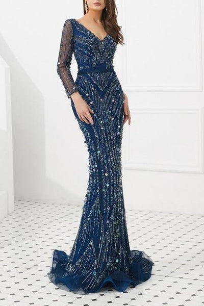 Misstook Label Long Sleeve Sequined Dress blue / 10 Dress