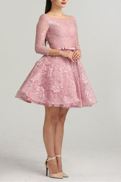 Misstook Label Mini Flower Embroidery Belted  Evening Dress Dress