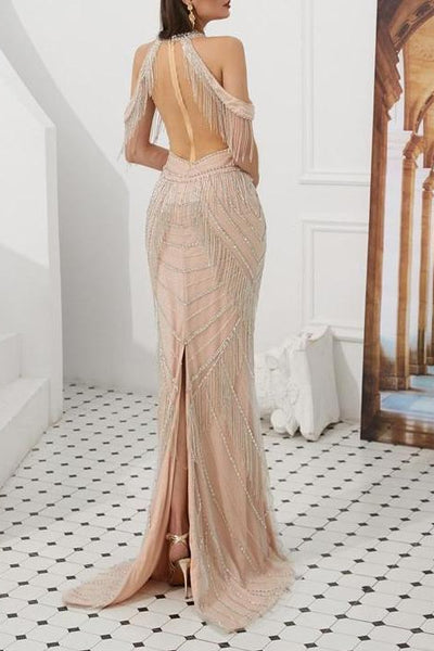 Misstook Label Diamond Mermaid Evening Dress silver / 10