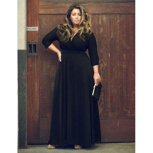 Women Deep V-neck Solid Color Maxi Dress Black - phat girlz r uz new and resale shop for plus size