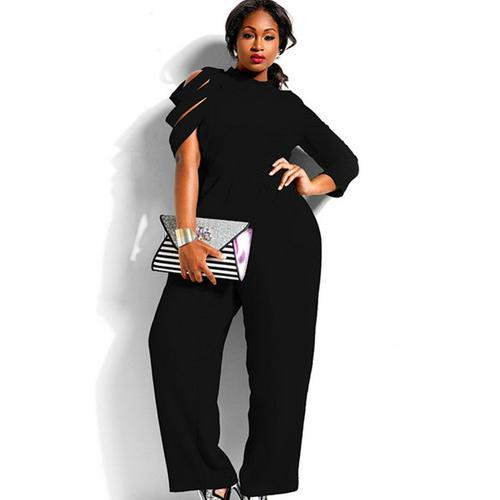 Very Sexy Irregular Sleeves High Waist Jumpsuit Black - phat girlz r uz new and resale shop for plus size