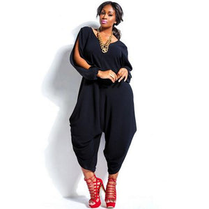 Black Hot Sale Sexy Fashion Long Split Sleeves V-Neck Jumpsuit - phat girlz r uz new and resale shop for plus size