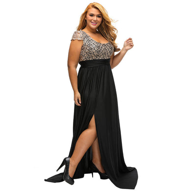 Amazing Gold Lace Overlay Slit Maxi Evening Gown - phat girlz r uz new and resale shop for plus size