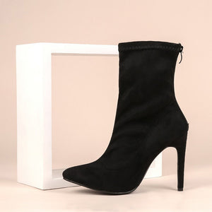 Women Suede Shoes Sexy Thin Heel Zipper Boot