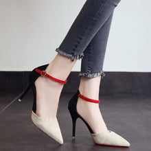 Women Pointed Toe Pumps Mixed Colors Slip-On Heel