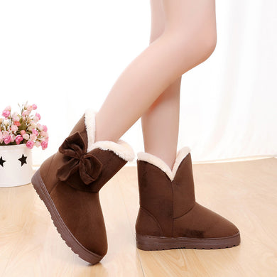 Bowknot Warm Women Boots Autumn and Winter - phat girlz r uz new and resale shop for plus size
