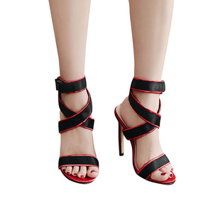 Women Sexy Party Open Toe Shoe with Bandage Sexy Heel