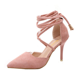 Women Ankle Strap High Heels Shallow Tie up - phat girlz r uz new and resale shop for plus size