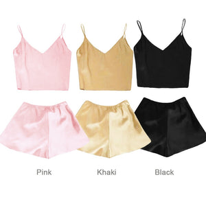 Sexy Women Silk Satin Deep V Neck Cami Top Shorts Sleepwear Nightwear - phat girlz r uz new and resale shop for plus size