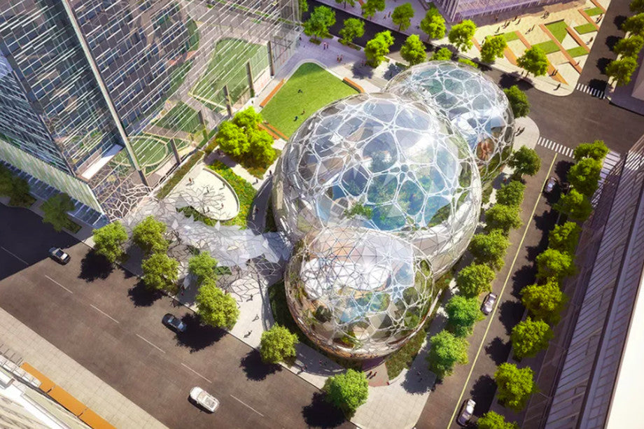 Amazon's mini rainforest work space spheres