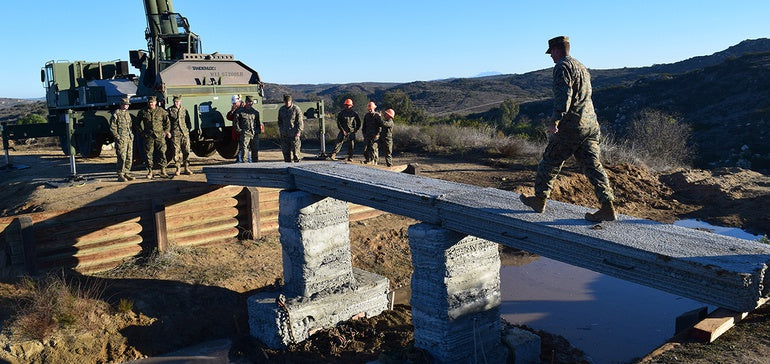 Marines 3D-print concrete footbridge in field