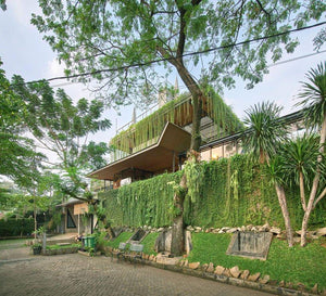 lush greenery envelops RAW architecture's multi-purpose complex in indonesia