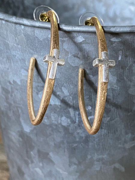 Two Tone Oval Hoop Earrings With Cross Accent