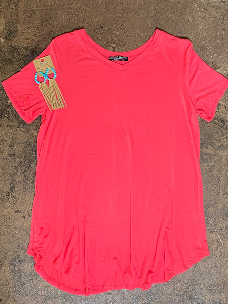 Coral Short Sleeved Tee