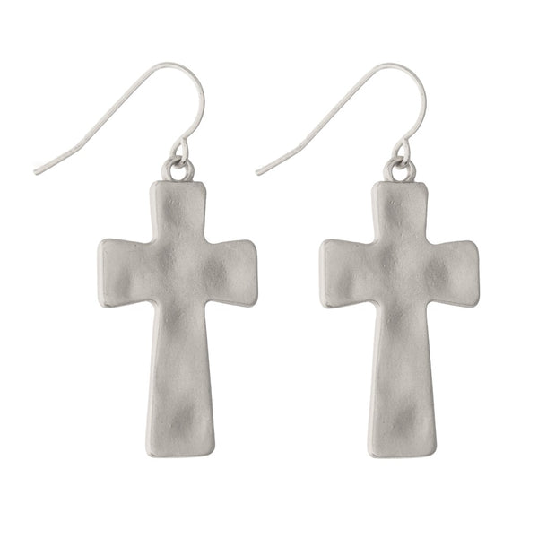 Silver Tone Hammered Cross Earrings