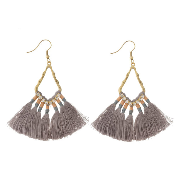 Gray Threaded Tassel Earrings With Rhinestone Accents