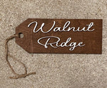 Wooden Hanger Featuring Cursive Walnut Ridge