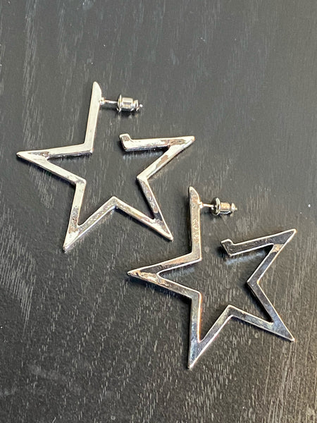 Silver Tone Star Hoop Earrings