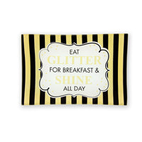 Black and Gold Striped Trinket Tray Featuring Eat Glitter For Breakfast & Shine All Day Sentiment