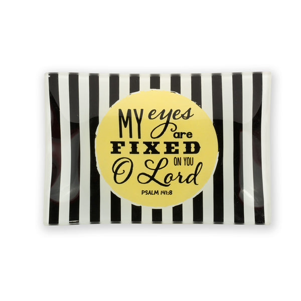 Trinket Tray With Verse; black and white striped