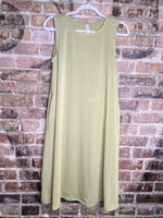 Sage Sleeveless Flared Tunic Dress With Pockets