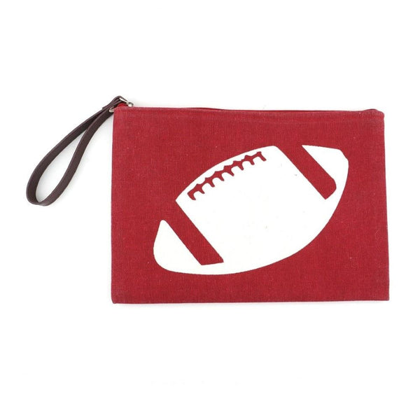 Red Zippered Wristlet With White Football Image